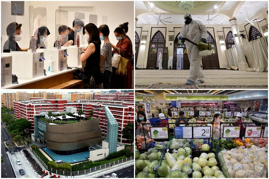 Among the places visited by Covid-19 patients recently are (clockwise from top left) Uniqlo at Orchard Central, Hajjah Fatimah Mosque, the FairPrice outlet at Toa Payoh Hub and City Harvest Church.