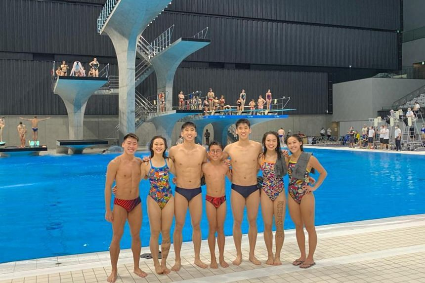 Team Singapore divers at their training session held at Tokyo Aquatics Center ahead of the Fina Diving World Cup.