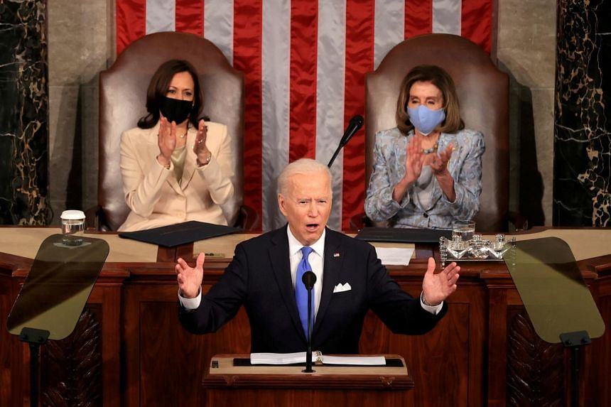 US President Joe Biden addresses a joint session of Congress at the US Capitol in Washington, on April 28, 2021.
