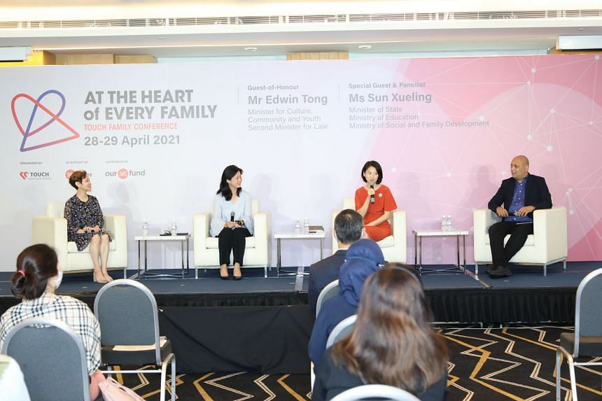 Minister of State for Social and Family Development Sun Xueling (third from left) in a panel discussion on building resilient families at the Touch Family Conference yesterday, with (from left) panellist Susan Ng, moderator Anita Low-Lim and panellis