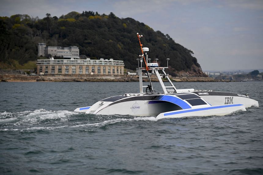 The autonomous Mayflower 400 undergoing a sea trial in Plymouth, England, on April 27, 2021.