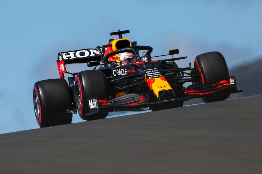 Red Bull's Dutch driver Max Verstappen in action during the second practice session of the Portuguese grand prix.