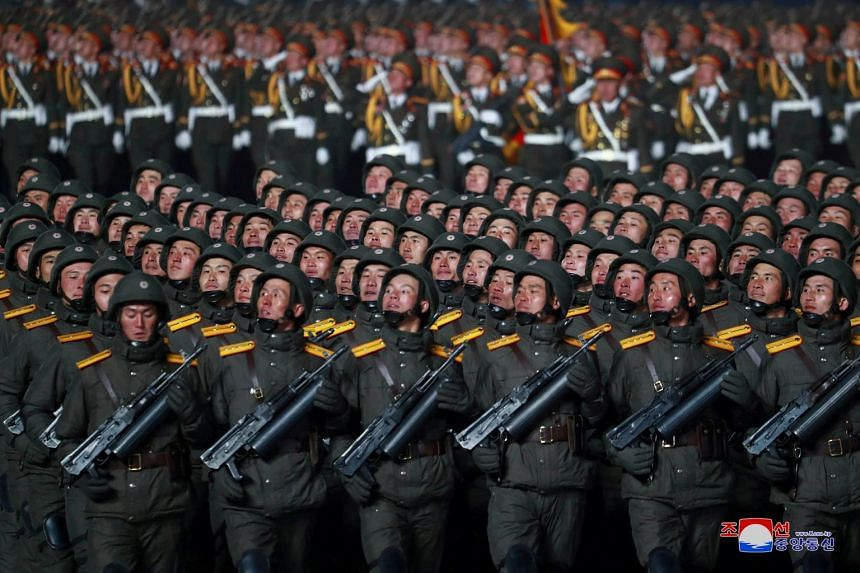 North Korean troops take part in a military parade in Pyongyang, in January 2021.