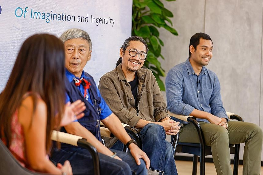 Ms Bridget Tracy Tan, regional chief judge for this year's UOB Painting of the Year competition, with former winners (from left) Goh Beng Kwan, Ian Woo and Khairulddin Abdul Wahab at a panel session during the launch of the competition on Tuesday. Ms