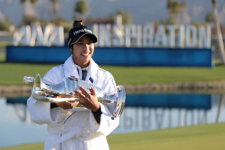 Patty Tavatanakit with the trophy after winning the ANA Inspiration at the Dinah Shore course in Rancho Mirage, California, on April 4, 2021.
