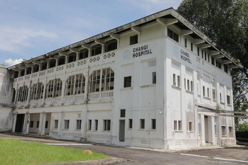 The facade of Old Changi Hospital on April 14, 2021.