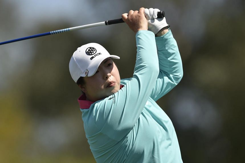Feng Shanshan chips the ball during the third round of the ANA Inspiration golf tournament at Mission Hills Country Club in California, on April 3, 2021.