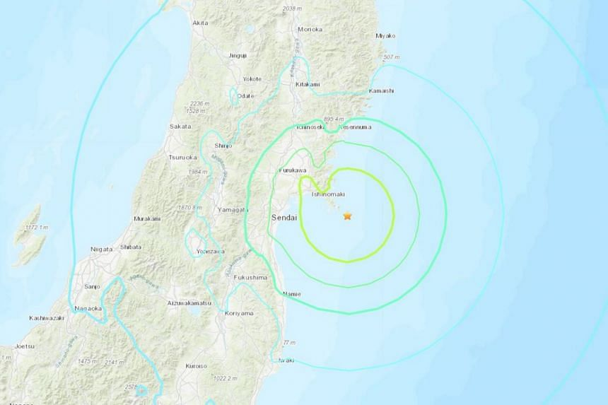 The earthquake struck close to the coast of Miyagi prefecture north of Tokyo and not far from the destroyed Fukushima Daiichi nuclear plant.