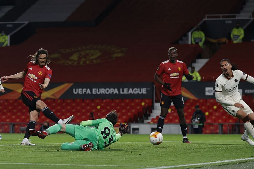 Manchester United's Edinson Cavani scoring the team's third goal in their 6-2 Europa League semi-final, first-leg win on Thursday. He ended the night with two goals and two assists.