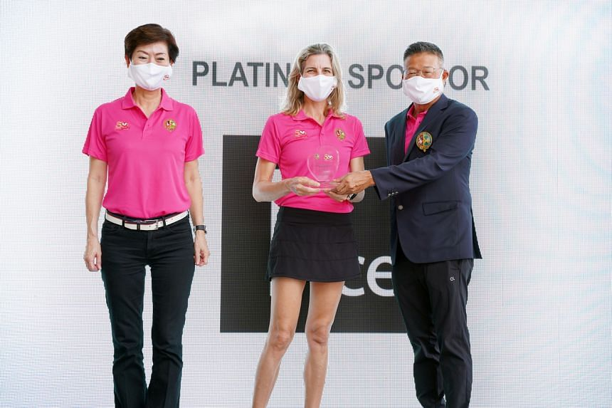 (From left) Ms Loh Ju Fern, Ms Jennifer Myra Ilkiw and Mr Vincent Wee at the SICC May Day Charity golf event.