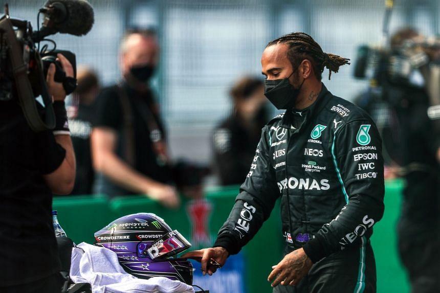 Mercedes' Hamilton after qualifying second, behind teammate Valtteri Bottas, for the Portuguese grand prix.
