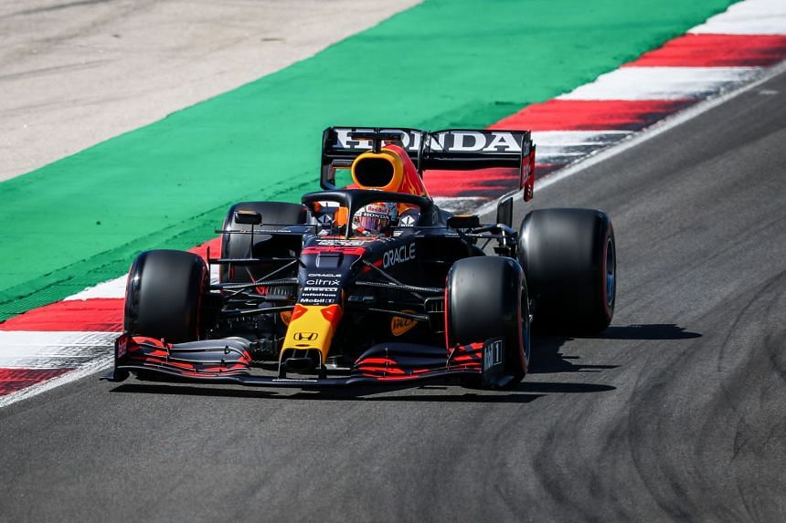 Max Verstappen in action during the qualifying session ahead of the Portuguese grand prix.