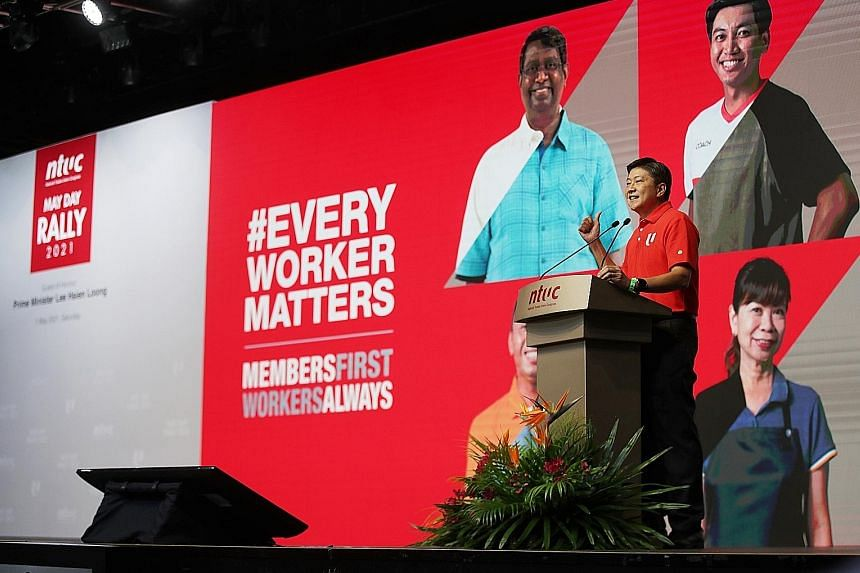 Labour chief Ng Chee Meng speaking at the May Day Rally event at D'Marquee@ Downtown East.
