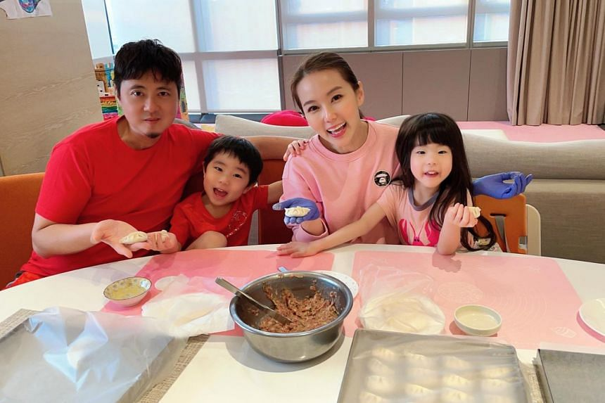 Local actress Yvonne Lim with husband Alex Tien and children Alex Junior and Alexa.