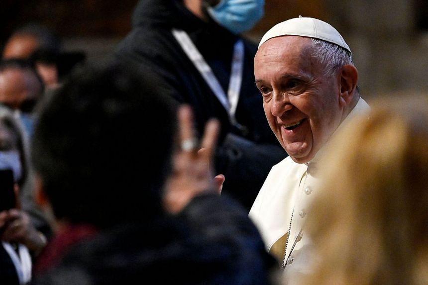 Pope Francis arrives to begin the marathon month of prayer against coronavirus at Saint Peter's Basilica in the Vatican City.