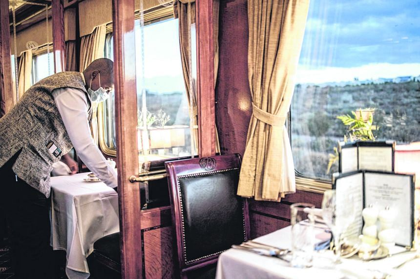 The observation car of the Blue Train in Cape Town, South Africa. The ultimate luxury travel train experience for more than 70 years, the Blue Train - in one of its itineraries - crosses South Africa for more than 1,400km from Cape Town, its southern