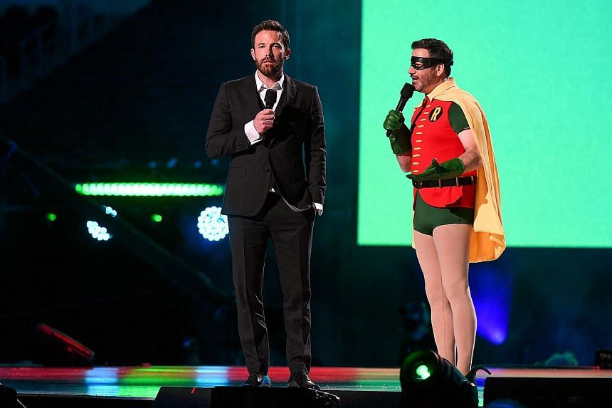 Actor Ben Affleck and television host Jimmy Kimmel during the Vax Live fundraising concert.