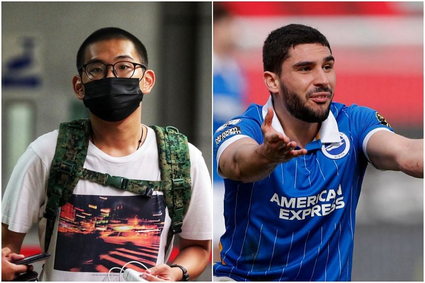 Derek Ng De Ren (left) sent threatening messages to football player Neal Maupay via Instagram.