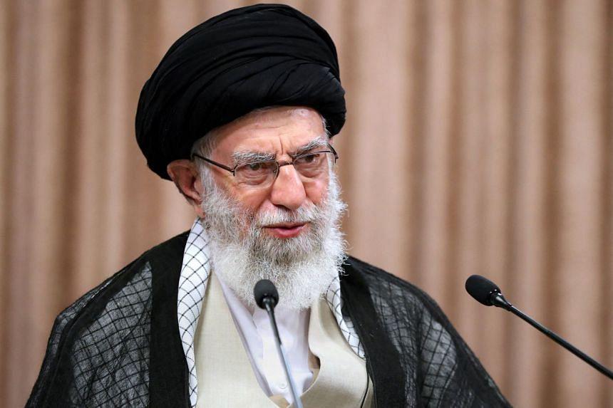 Iran's Supreme Leader Ayatollah Ali Khamenei gives a live televised speech in the capital Teheran, on May 2, 2021.