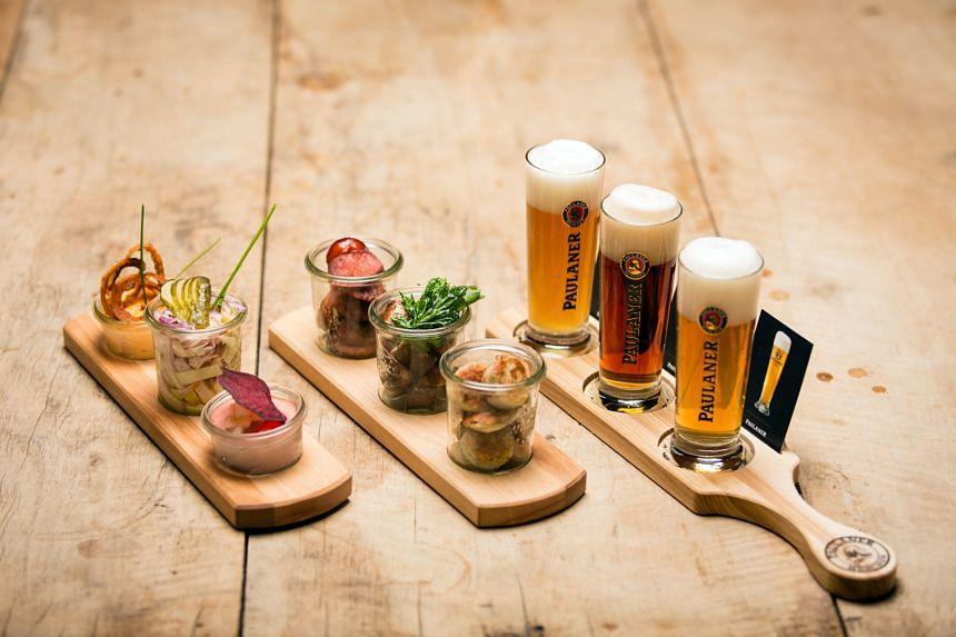 Beer tasting flight at Paulaner Brauhaus Singapore.