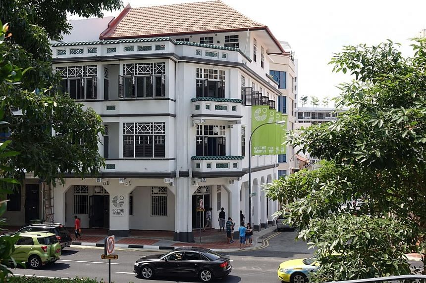 German- language courses as well as learning materials are available at the Goethe-Institut (above) in Neil Road.