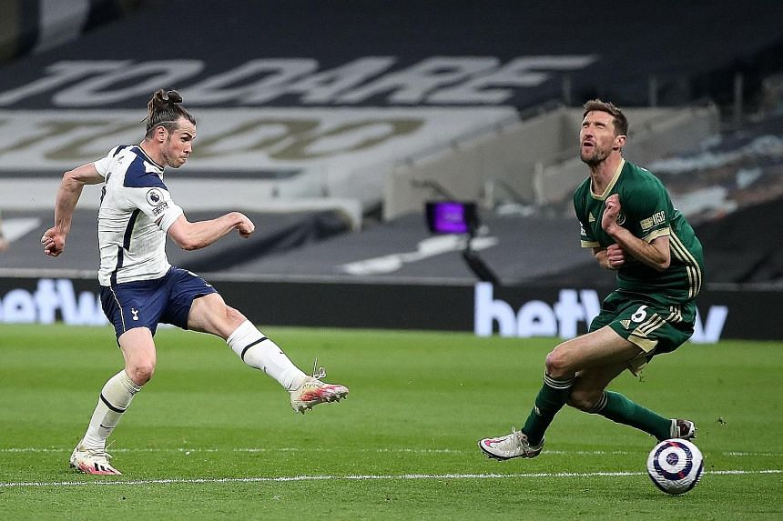 Tottenham Hotspur's Gareth Bale scoring his third goal against Sheffield United for his first Premier League hat-trick since 2012.