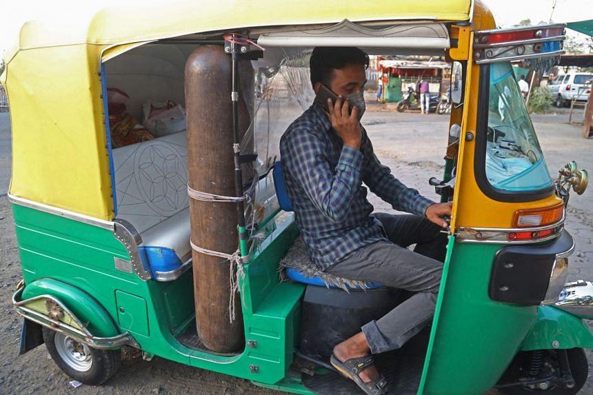 Auto-rickshaw driver Mohammad Javed Khan converted his three-wheeled vehicle into a small ambulance.