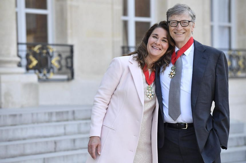 Mr Bill Gates and Mrs Melinda Gates leave the Elysee Palace after they received the French Legion of Honor medal, in Paris on April 21, 2017.