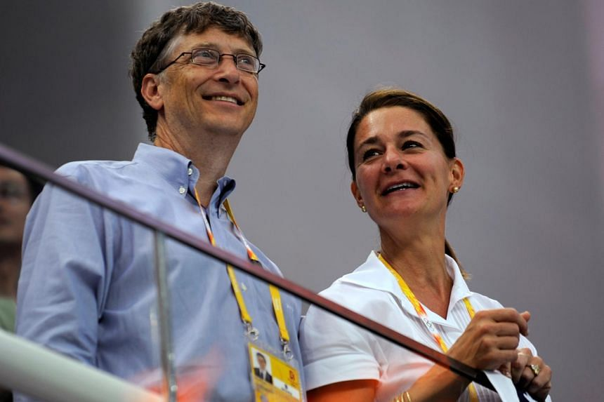 Mr Bill Gates and Mrs Melinda Gates at the National Aquatics Center during the Beijing 2008 Olympic Games on August 10, 2008.