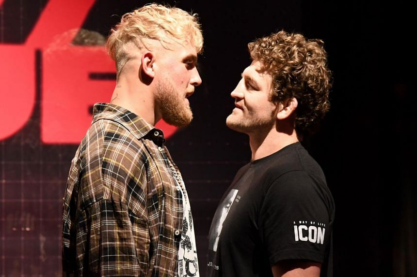 Jake Paul (left) and Ben Askren face off in Las Vegas, on March 26, 2021.