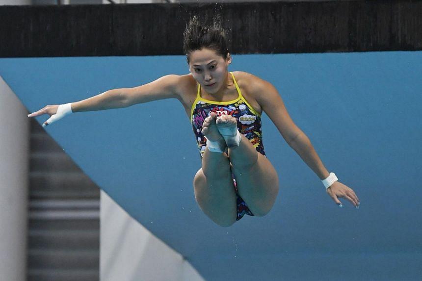 Freida Lim during training at the OCBC Aquatic Centre on April 17, 2021.
