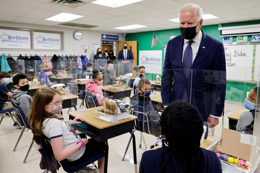 US President Joe Biden visits Yorktown Elementary School in Virginia on May 3, 2021.