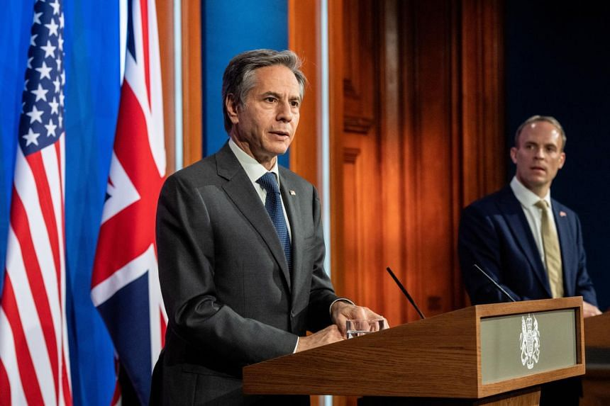 US Secretary of State Antony Blinken (left) and Britain's Foreign Secretary Dominic Raab hold a joint news conference following their bilateral meeting in London on May 3, 2021.