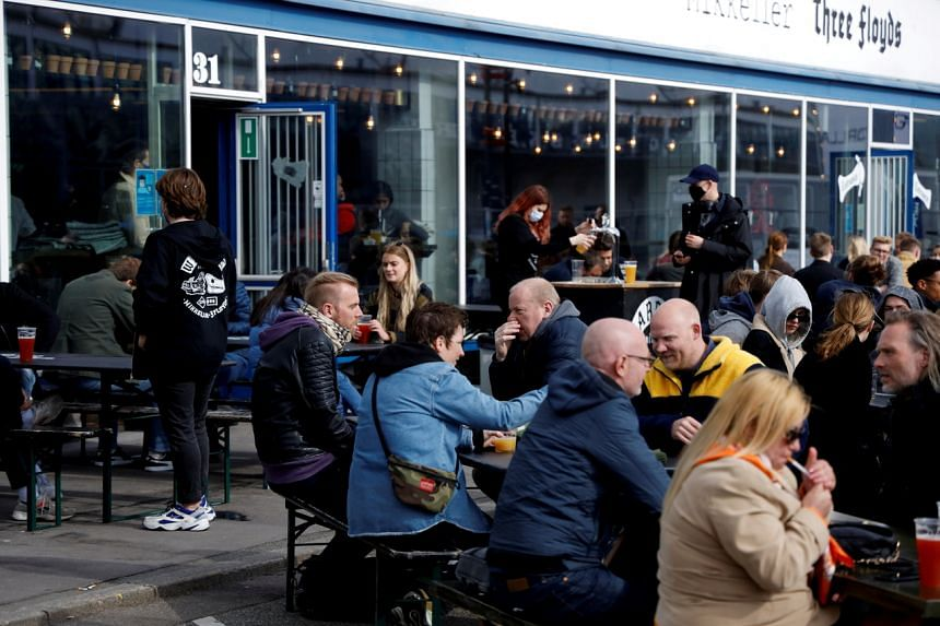 Customers at bar after a Covid-19 lockdown was partially lifted in Copenhagen, on April 23, 2021.
