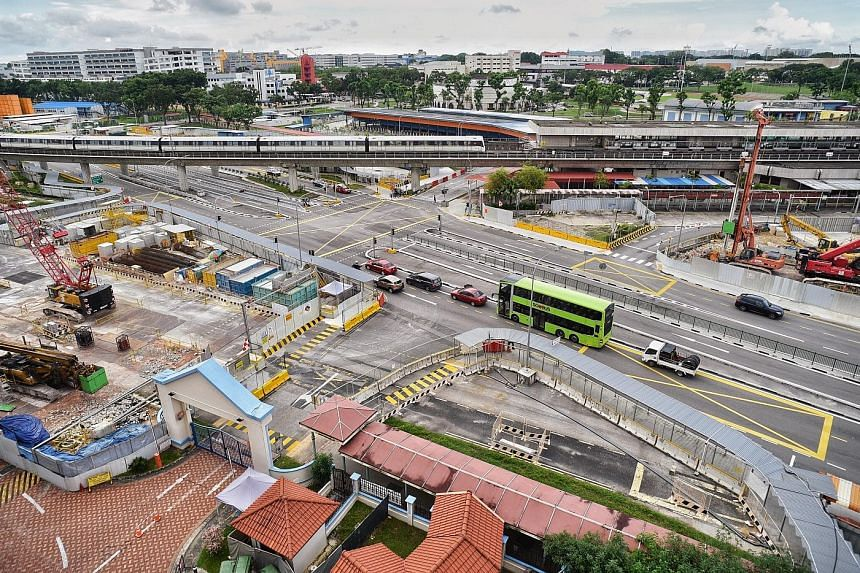Construction work on the North-South Corridor in Ang Mo Kio last Saturday. The Land Transport Authority said work carried out on the $7.47 billion project so far includes traffic and utility diversions, as well as foundation works. ST PHOTO: DESMOND