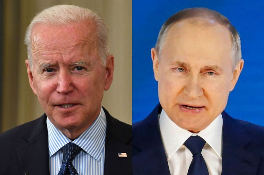 Biden (left) hopes to work in a summit with Putin (right) when he travels to Europe for G-7 and Nato meetings.