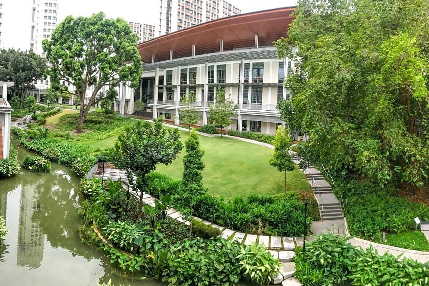 Yale-NUS College (above) was a Gold award recipient in the National Parks Board's 2020 Landscape Excellence Assessment Framework certification scheme, with special mention for promoting community well-being and engagement. Below: Yale-NUS College stu