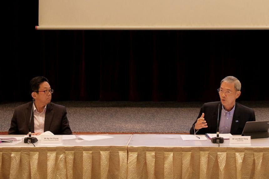SPH chief executive officer Ng Yat Chung (left) and chairman Lee Boon Yang at a press conference, on May 6, 2021.