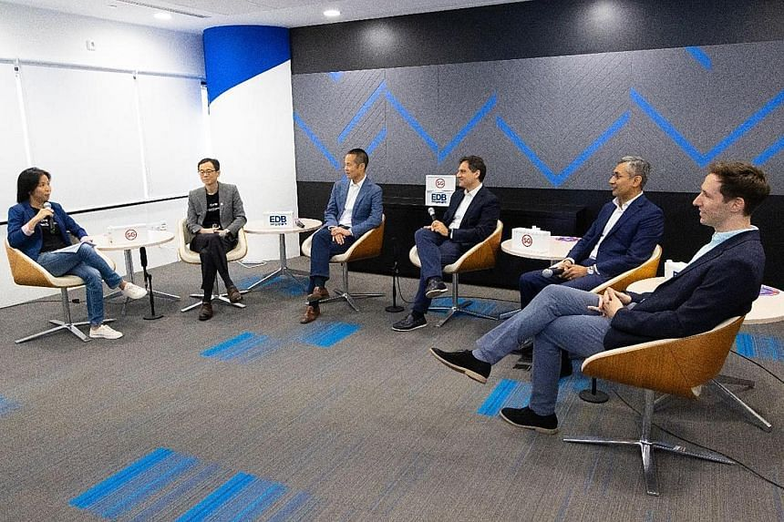 Discussing the corporate venturing ecosystem in Singapore are (from right) Mr Samuel Hall, CEO, Rainmaking Venture Studio; Mr Badrinath Ramanathan, managing partner, Singapore, McKinsey; Mr Mario Aquino, managing partner, FutureLabs Ventures; Mr Pete