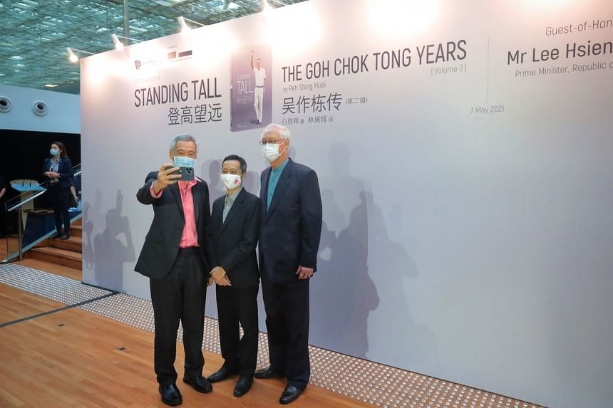 (From left) PM Lee Hsien Loong, author Peh Shing Huei and ESM Goh Chok Tong at the book launch on May 7, 2021.