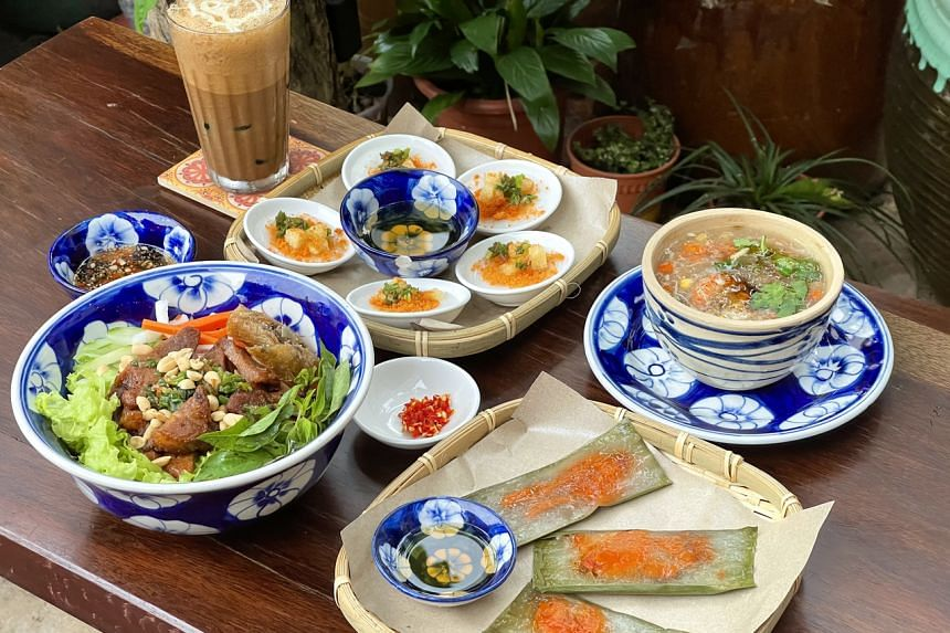 Eatery Co Chung offers Vietnamese fare such as (clocwise from right) seafood and chicken thick soup, Vietnamese tapioca dumpling, vermicelli with grilled pork and crispy spring roll, Vietnamese milk coffee and water fern cake.