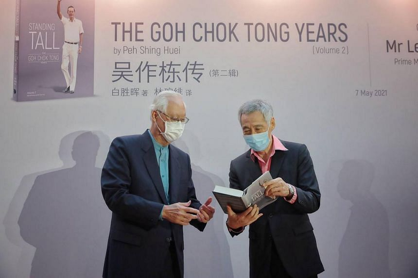 ESM Goh Chok Tong (left) and PM Lee Hsien Loong at the launch of Standing Tall - The Goh Chok Tong Years, at the National Gallery Singapore on May 7, 2021.