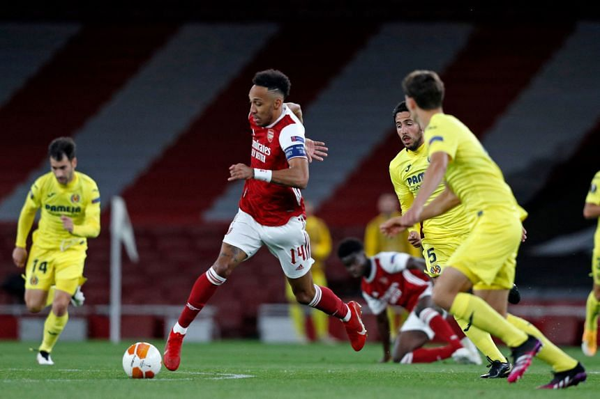 Arsenal striker Pierre-Emerick Aubameyang (centre) in action during the match against Villareal at the Europa League semi-final in London on May 6, 2021.