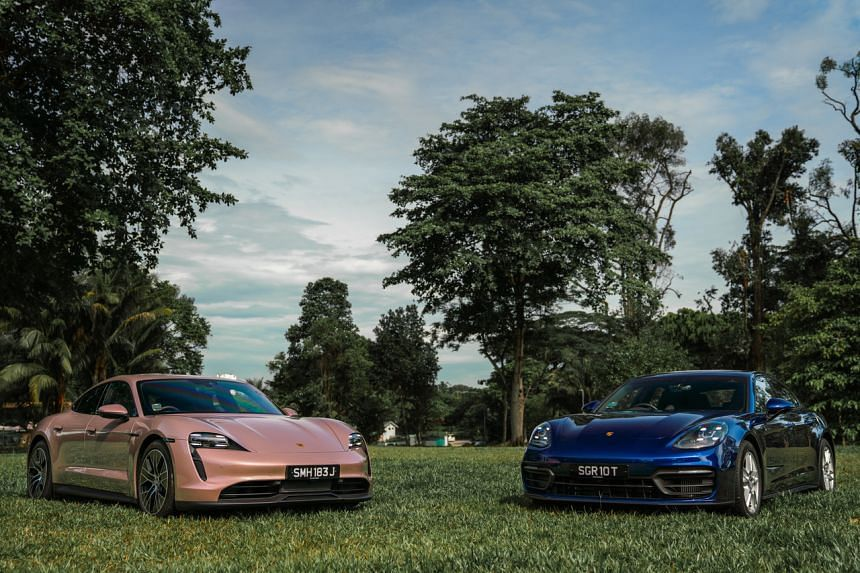 The Porsche Taycan (left) and Porsche Panamera.