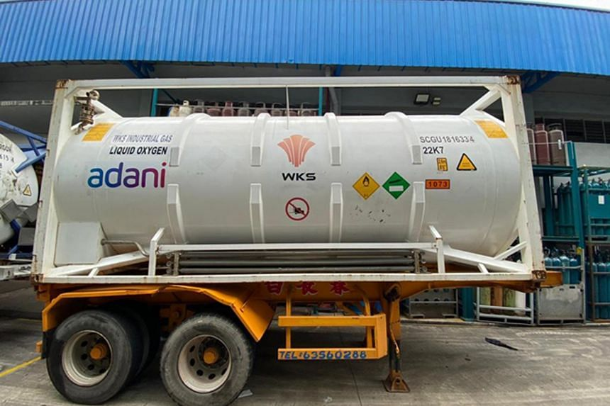 One of the cryogenic oxygen tanks secured by Adani Singapore.