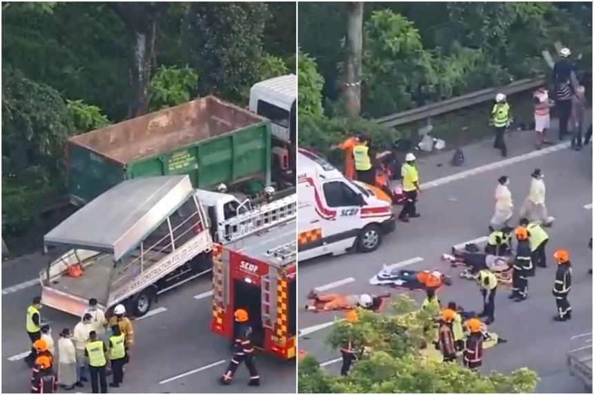 One of 17 migrant workers travelling on the back of a lorry died after the vehicle collided with a tipper truck on the PIE on April 20, 2021.