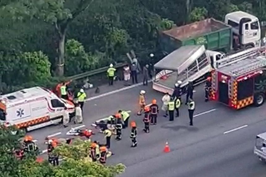 A recent accident in which two migrant workers died and several others were injured when the lorry they were in collided with another vehicle. The LTA says the number of people injured or killed while on board lorries has been falling in the last 10