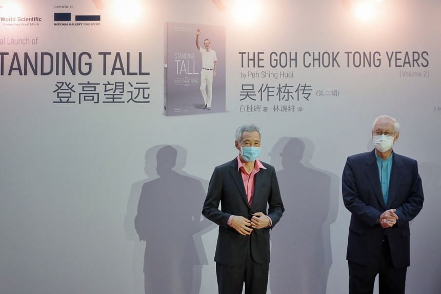PM Lee Hsien Loong and ESM Goh Chok Tong at the book launch of Standing Tall - The Goh Chok Tong Years, on May 7, 2021.