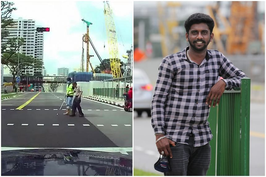 Mr Gunasekaran Manikandan's act of kindness in helping an elderly man cross the road was captured by a member of the public in a video.