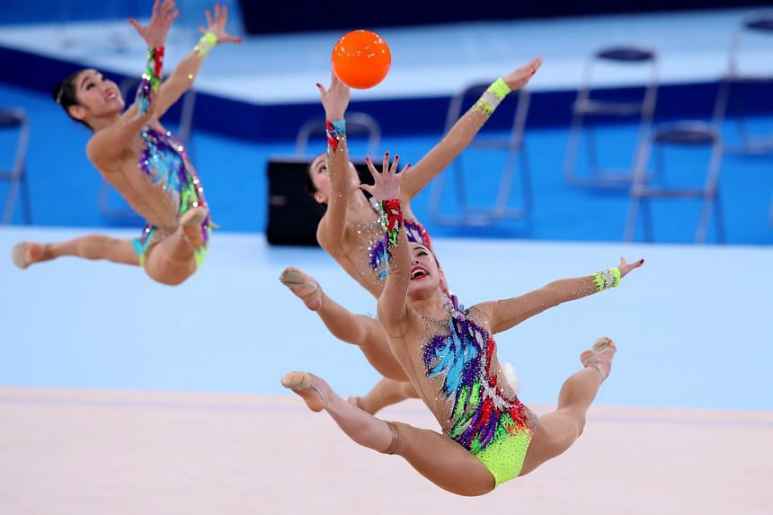 Japan's team Fairy Japan Pola perform at the Rhythmic Gymnastics event at the Tokyo 2020 Olympic Games Test Event in Tokyo, on May 8, 2021.